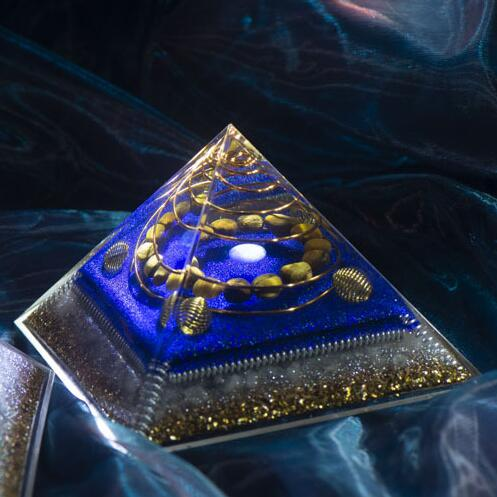Orgon Energy Pyramid Chakras Stone Orgonite Amethyst Crystals Lapis Lazuli Home Office Decor Resin Reiki Gift