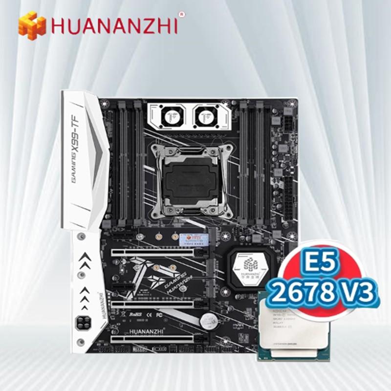 HUANANZHI X99-TF X99 اللوحة ATX الخادم إنتل مع زيون E5 2678 V3 DDR3 DDR4 RECC الذاكرة كومبو كيت NVME SATA 3.0 USB3.0