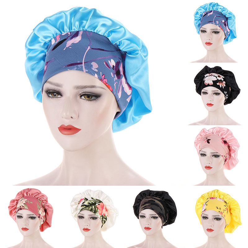 Soft Satin Bonnet Women Elastic Night Sleep Hat Caps Anti Hair Loss Cover Head Wrap Beauty Hair Care