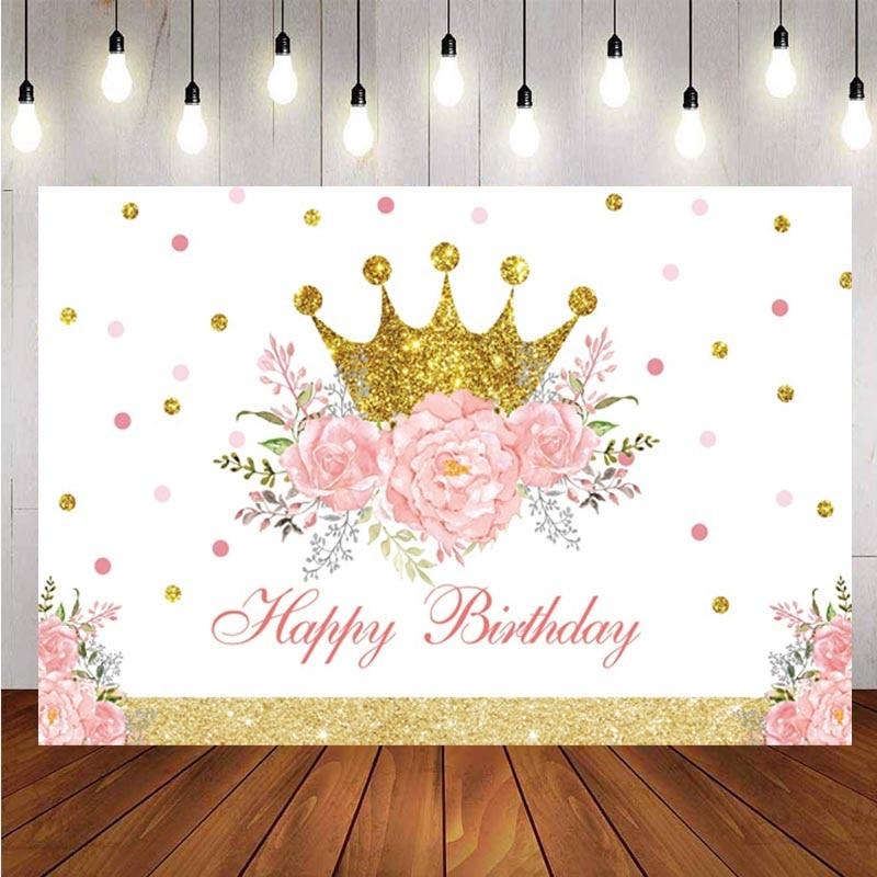 Фон с короной для маленьких принцесс на день рождения вечерние цветок Baby Shower Фотофон для съемки фон для фотостудий Декор баннер опора