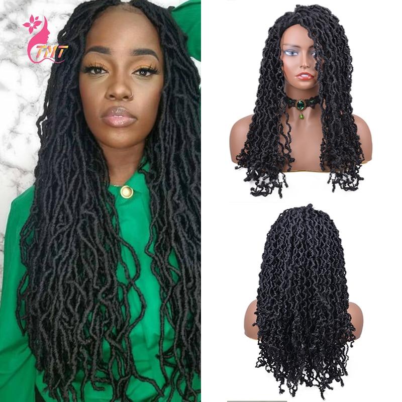 Nu Locs-شعر مستعار صناعي مضفر للنساء السود ، شعر مستعار طويل مموج طبيعي ، ضفائر كروشيه ، بدون غراء
