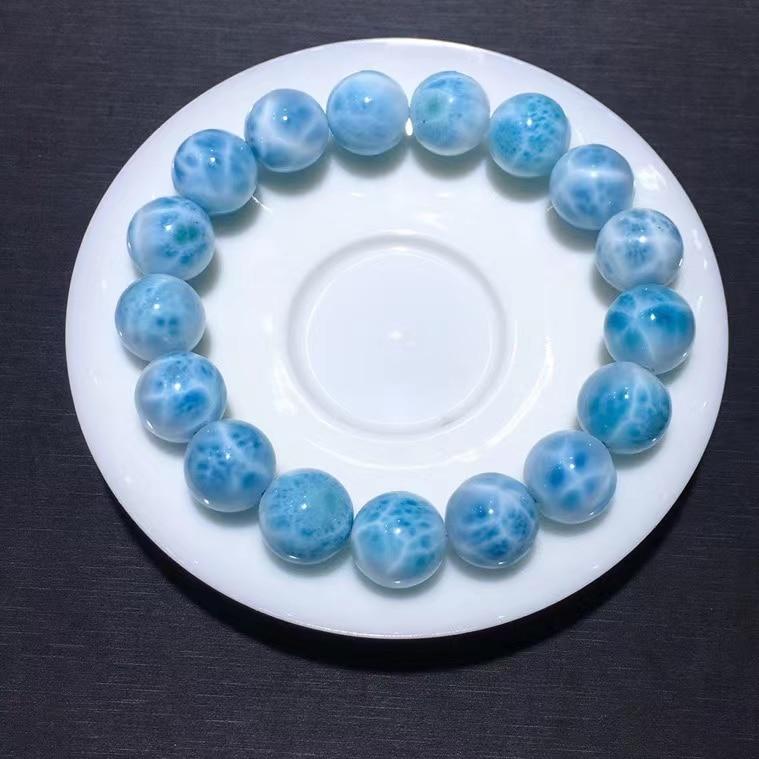 Genuine Natural Blue Larimar Gemstone Bracelet Women 13mm Stretch Round Beads Bracelet Water Pattern Jewelry AAAAAA