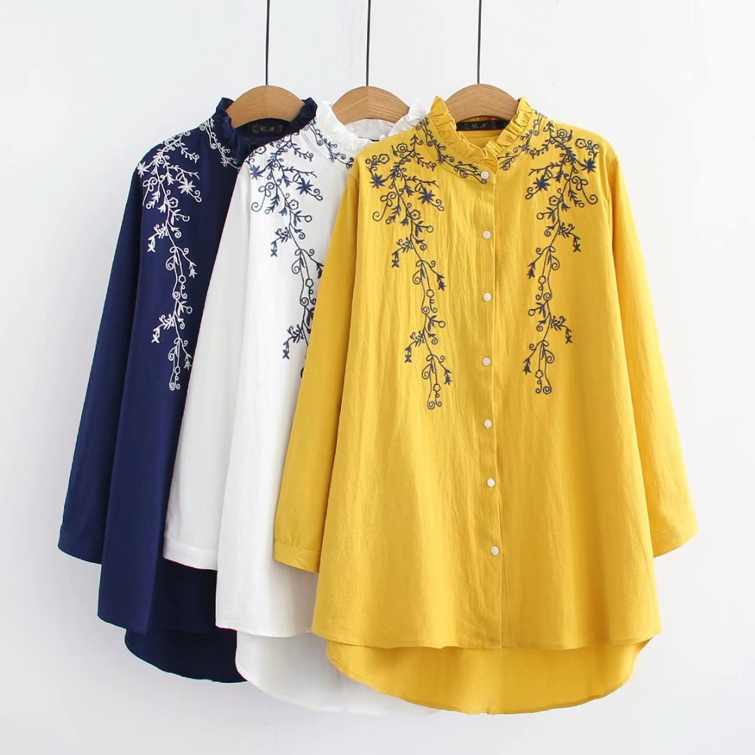 Women's Plus Size Blouse Tops Tees Clothing Cotton Embroidered Loose Casual Soild Tunic Shirts Fungus Femme Ladies 4XL AE539