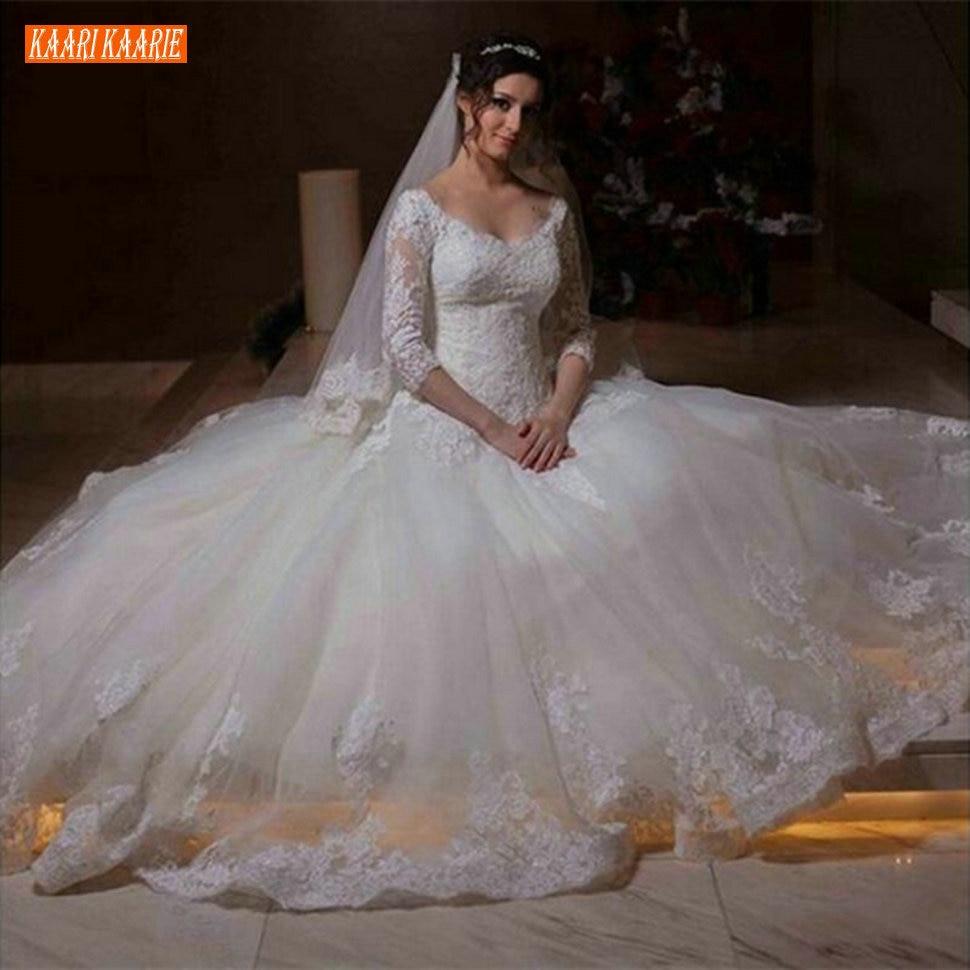 Boho elegante Branco Do Vestido de Casamento Ilusão 3/4 Mangas Lace Appliqued Tulle Praia Vestido de Noiva Moderna Princesa Longos Vestidos de Noiva