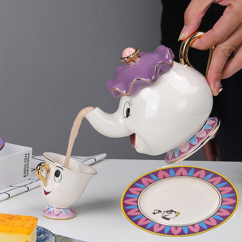 لطيف إبريق الشاي كأس لوحة طقم شاي الكرتون الجمال والوحش إبريق الشاي القدح براد شاي كوب مجموعة واحدة هدية جميلة طقم شاي teبينة