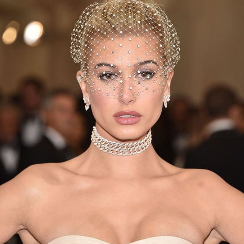 White Headband Veil for Bridal Crystal Birdcage Black Face Net Mask Hair Jewelry Accessories Veils Charming Wedding Fascinators