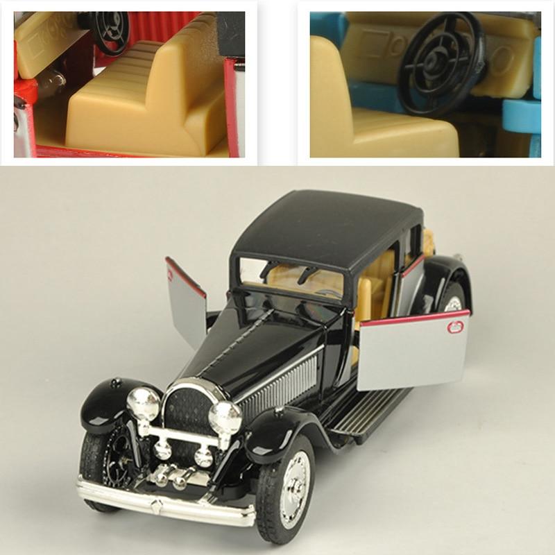128 bugattis vintage modelo de carro som e luz liga puxar para trás piscando clássico do vintage coletivo música carro brinquedo coleção