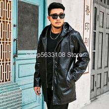Jin You Super  Brand Big Size Men's Wear With Cap Plus Fat Plus Large Size Fat Man Fat Leather Coat Medium Length Money Awf58