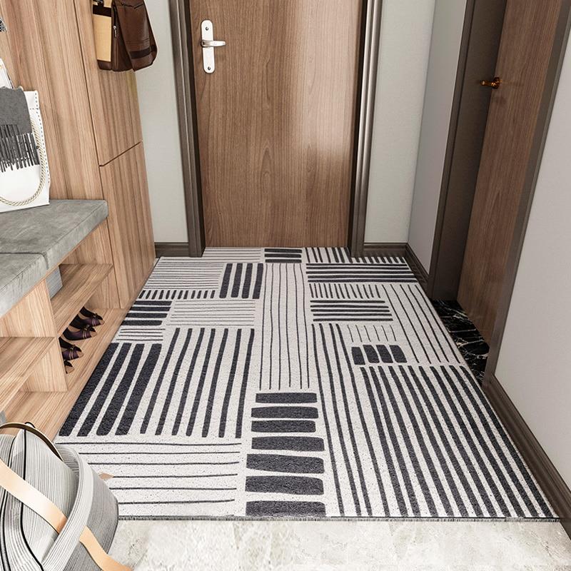 سجادة باب المدخل الداخلي والخارجي PVC ، سجادة الحمام غير القابلة للانزلاق مع حلقة حريرية ، نمط مخصص ، باب المنزل