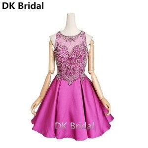 Spanish Order High-grade Sexy Short Purple Prom Dresses Illusion Back 2019 Beaded Crystal Sleeveless Mini Homecoming Party Dress