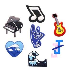 1pcs PVC Shoe Croc Charms Accessories Piano Music Notes Guitar Waves Shoe Decorations for Crocse Bracelet Kids Gifts ZJ09LI3