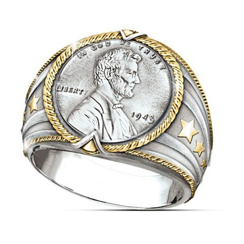 Zhixun vintage dois tons vinking estrelas herói americano moeda face arco anéis para homens personalidade festa jóias presente eua tamanho #6-12