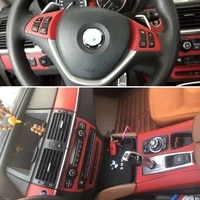 for bmw x5 e70x6 e71 interior central control panel door handle 3d5d carbon fiber stickers decals car styling accessorie