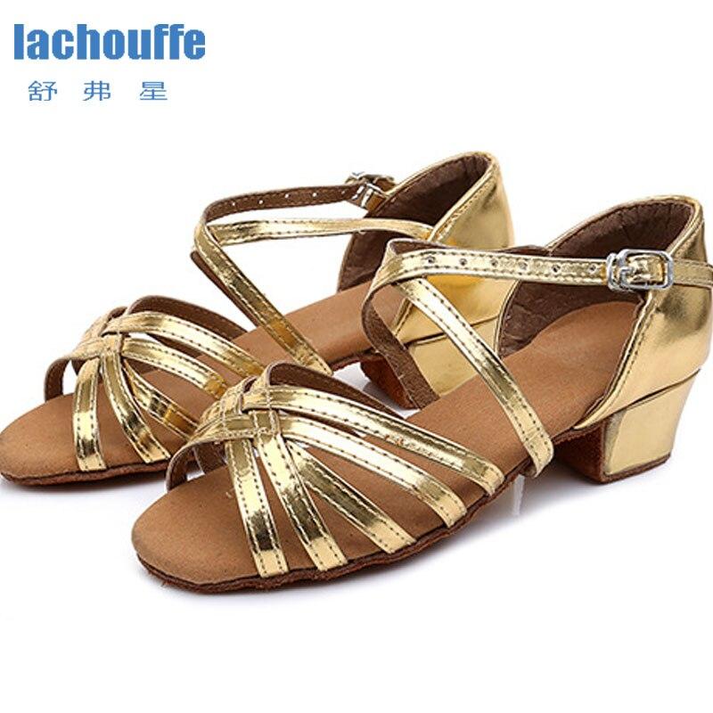Sapatos latinos salto quadrado 3.5cm sapatos de dança vermelho/ouro sola macia sapatos de dança mulher meninas latino/salão de baile/dança de jazz-sapatos