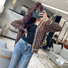 Spring and Autumn Knitted Cardigan Women's Sweater Letter Jacquard Temperament V-neck Thinner Knitte