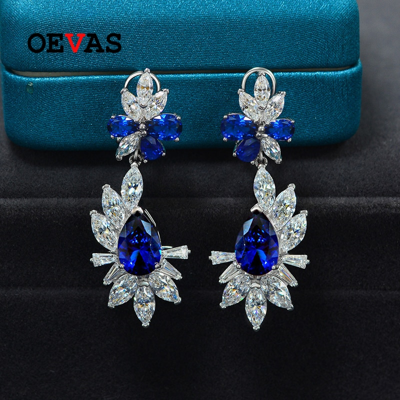 Review OEVAS 100% 925 Sterling Silver 8*12mm Pear Ruby Sapphire High Carbon Diamond Drop Earrings For Women Sparkling Fine Jewelry Gift