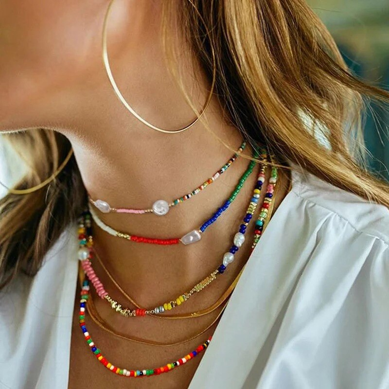 Bohemia Style Small Beaded Necklaces For Women Boho Charm Bead Choker Necklace Fashion Handmade Beach Party Jewelry for Girls