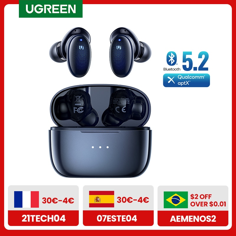 UGREEN HiTune X5 TWS Wireless Bluetooth 5.2 Earphones aptX with Qualcomm Chip 70ms Low Latency 28 Hrs Music Stereo Gaming Mode