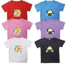 Cute Beautiful Hot Sale Pokemon Snorlax T Shirt Cotton Short Sleeves Casual Boys Girls Kids Eevee T Shirt Tee Tops for Children