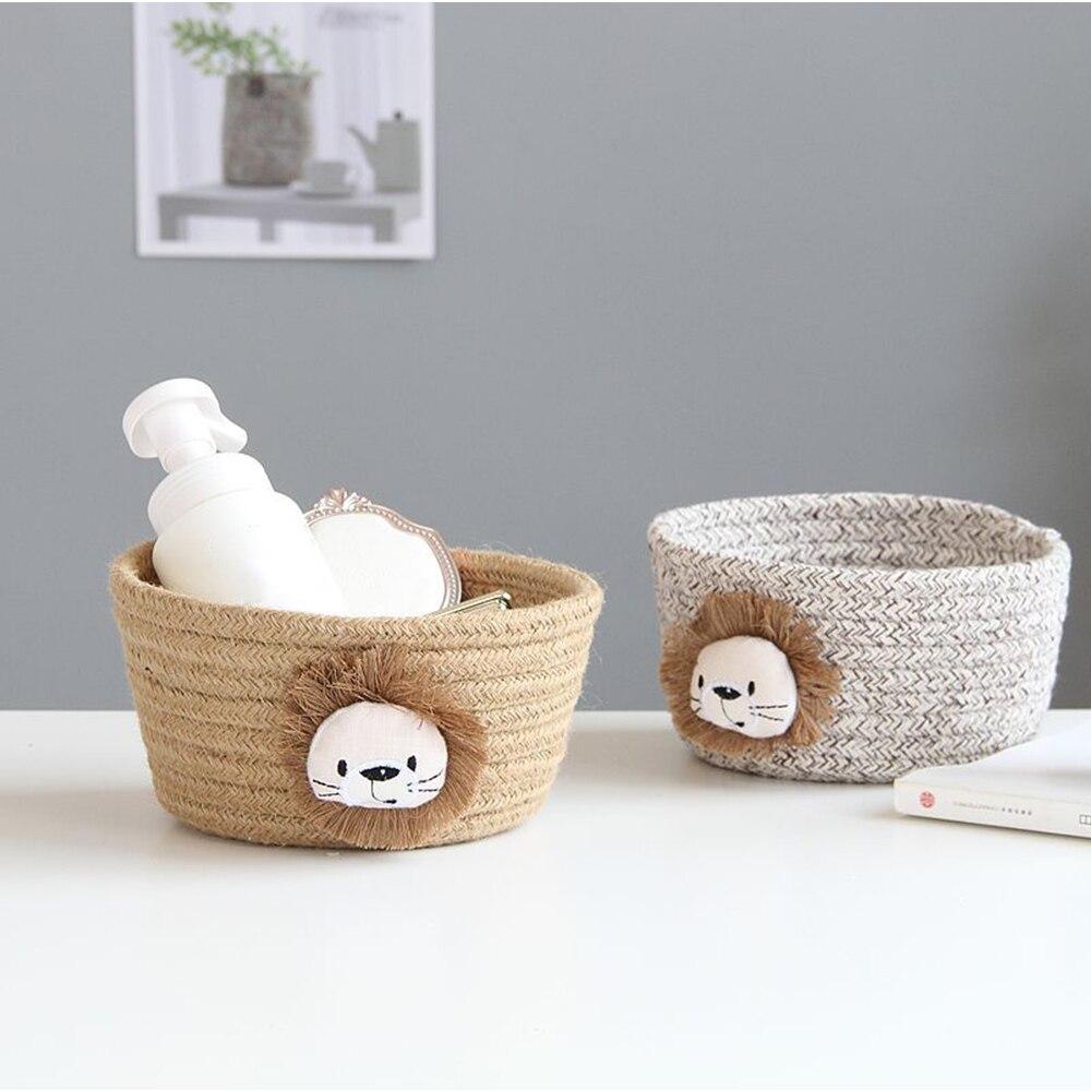 Cotton Rope Storage Basket Cartoon Animals Kids Toys Desktop Organizer Hand Woven Sundries Storage Laundry Baskets