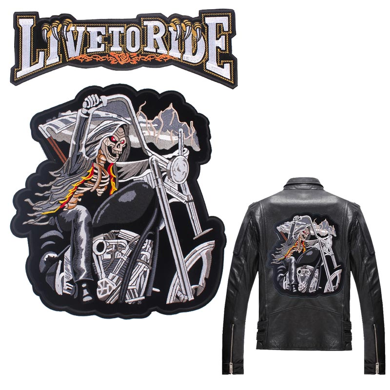Skull Biker Patch Large Embroidered Patches On Clothes Back Embroidery For Iron Jackets Big