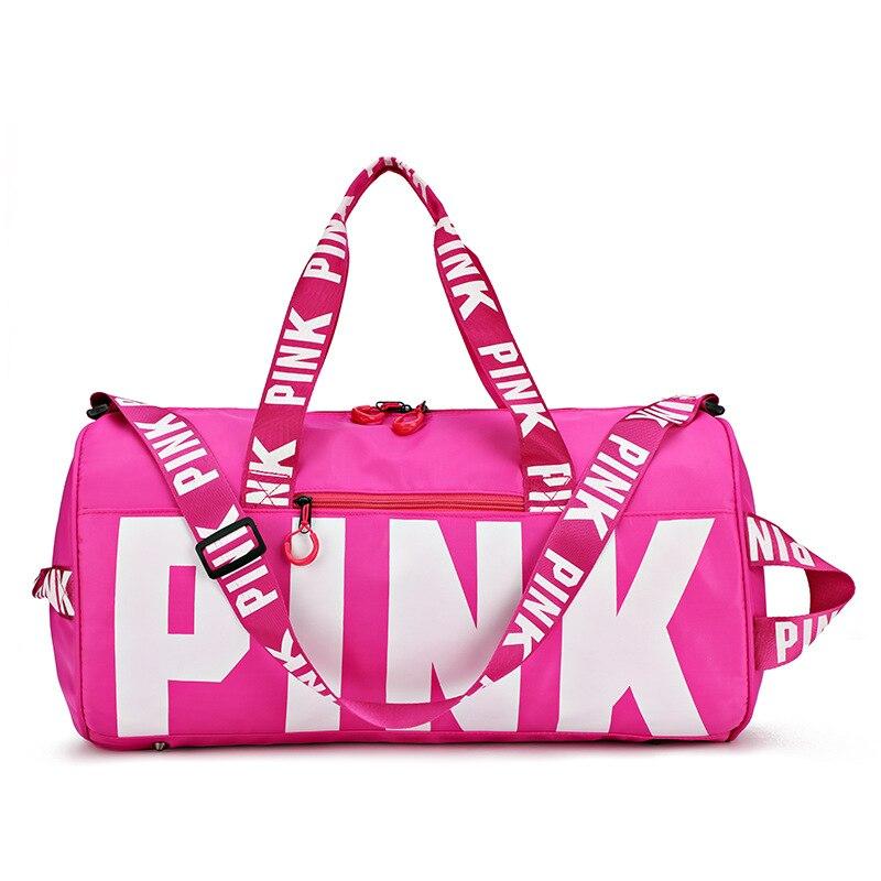 Bolsa rosa de nailon a prueba de agua, bolsa de almacenamiento de viaje para Fitness de moda, bolsa de lona para el fin de semana, bolsa de gimnasio