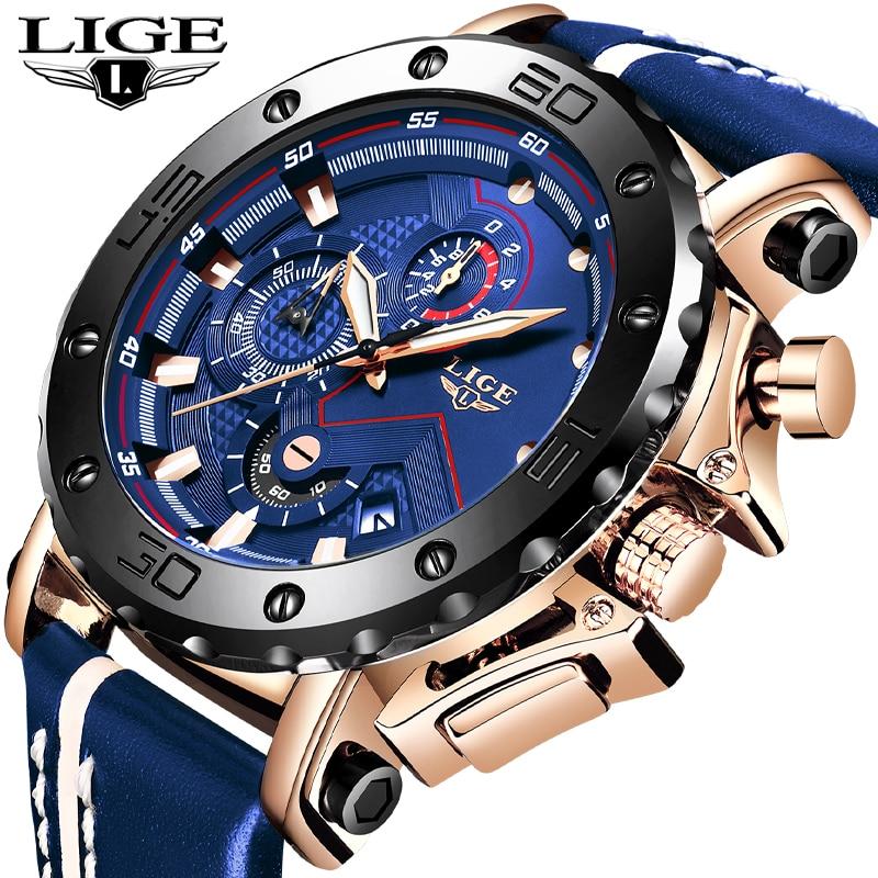 2019 LIGE nuevos relojes para hombre marca superior de lujo gran Dial militar ejército reloj de cuarzo moda Casual impermeable reloj de negocios para hombre