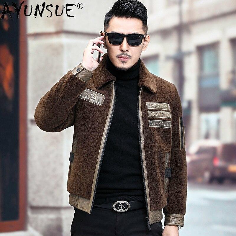 AYUNSUE الرجال الملابس 2020 الرجال جاكيتات الشتاء الذكور سترة 100% الصوف الفراء معطف جلد طبيعي سترة الذكور Chaqueta هومبر LXR421