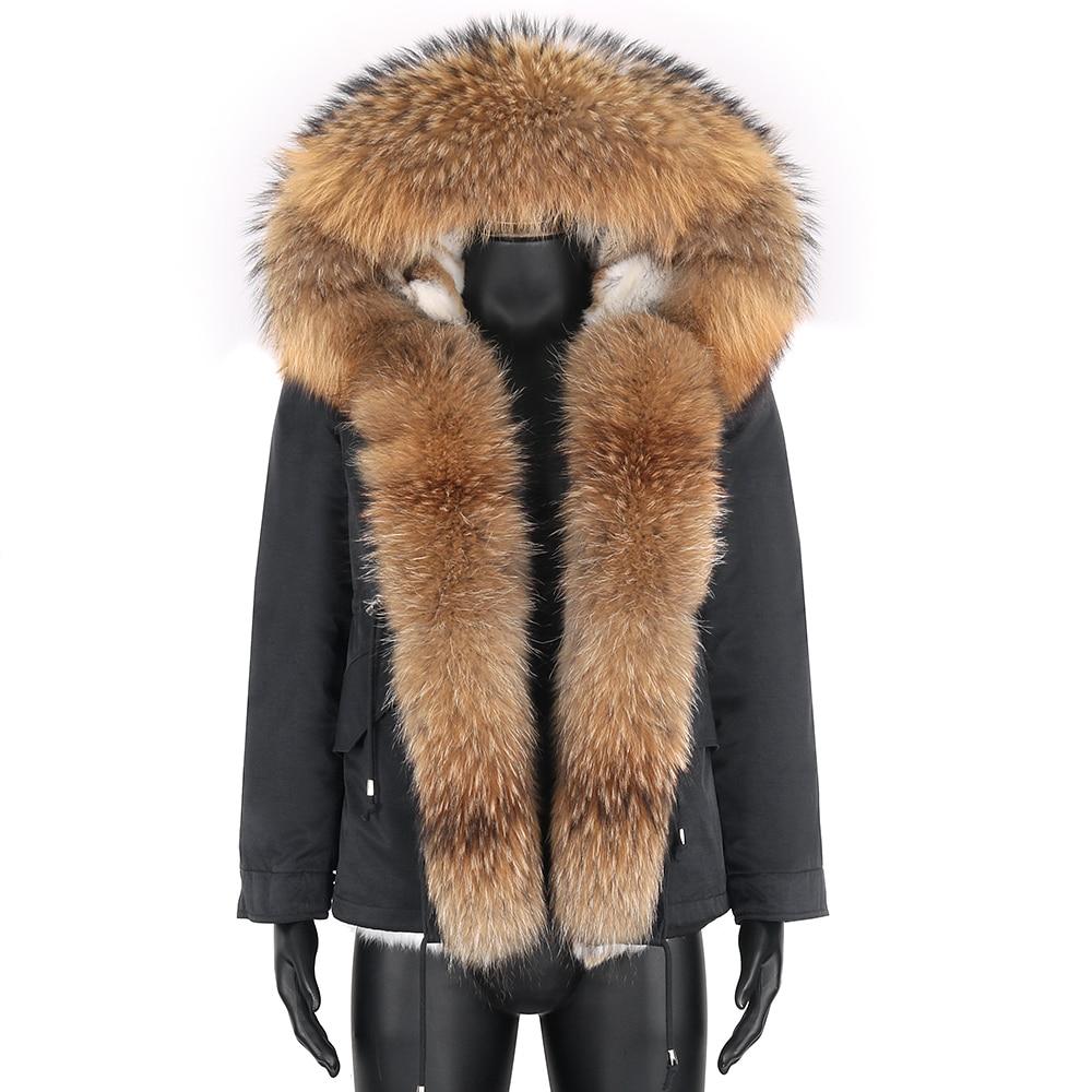 Парка мужская с капюшоном, подкладка из кроличьего меха, натуральный мех, Воротник из Raccon, зима