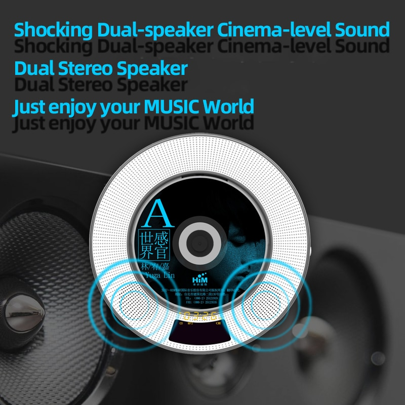 Bluetooth CD Player Wall Mountable Remote Control Home Music Boombox with Dust Cover,2 Built-in Stereo HiFi Soundcore Speakers enlarge
