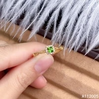kjjeaxcmy fine jewelry 925 sterling silver inlaid natural gemstone diopside new female ring elegant support detection