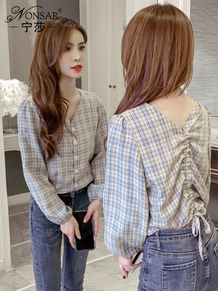 Ningsha 2021 Early Spring New Korean Style Fashionable All-Match V-neck Plaid Shirt Figure Flatterin