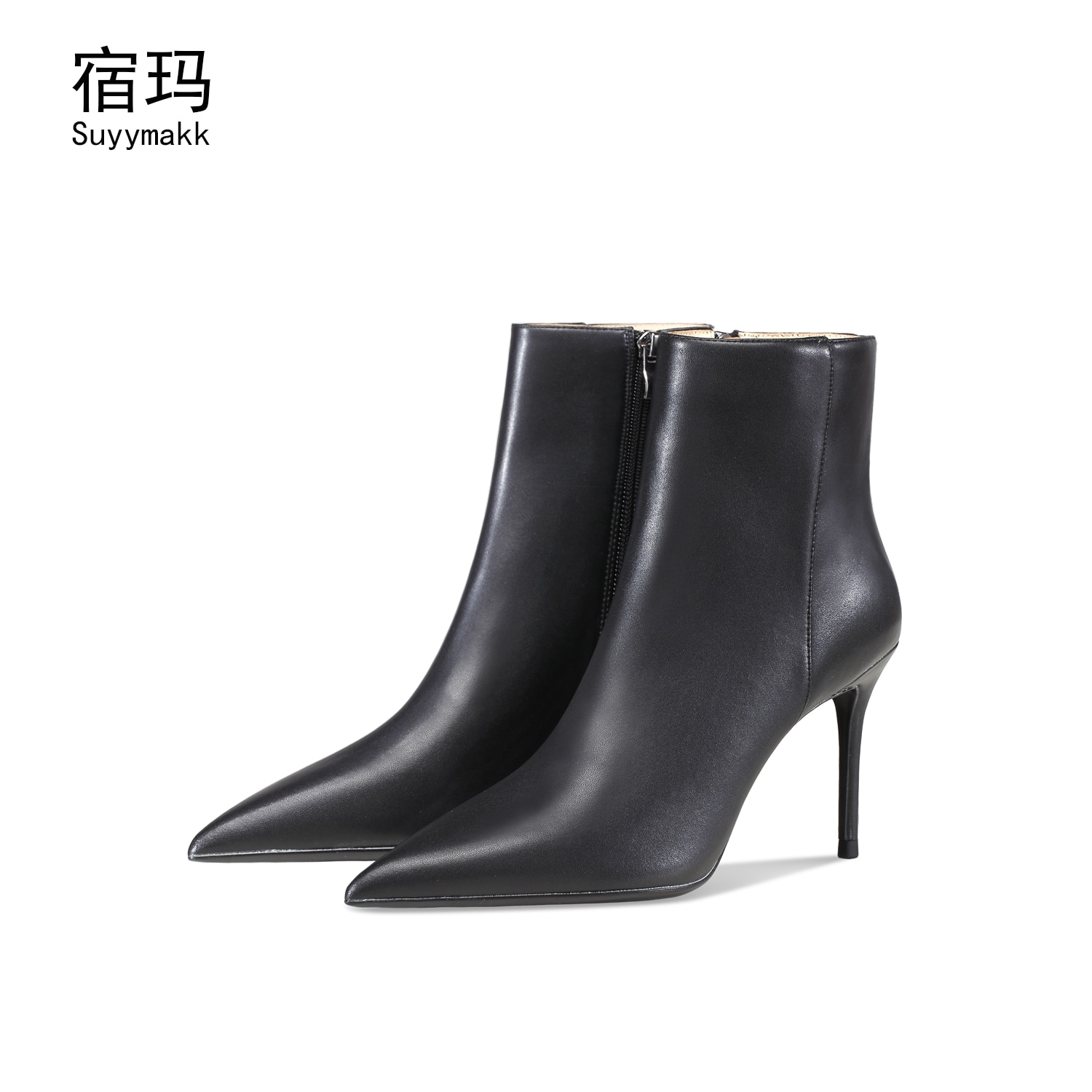 newest winter boots for women print flowers ankle boots pointed toe high heels boots 12 cm sexy stretch boots short dress shoes Boots Female Women Shoes Sexy Pointed Toe High Heels For Woman  Fashion 2021 Autumn Ankle Boots Genuine Leather Short Boots 8cm
