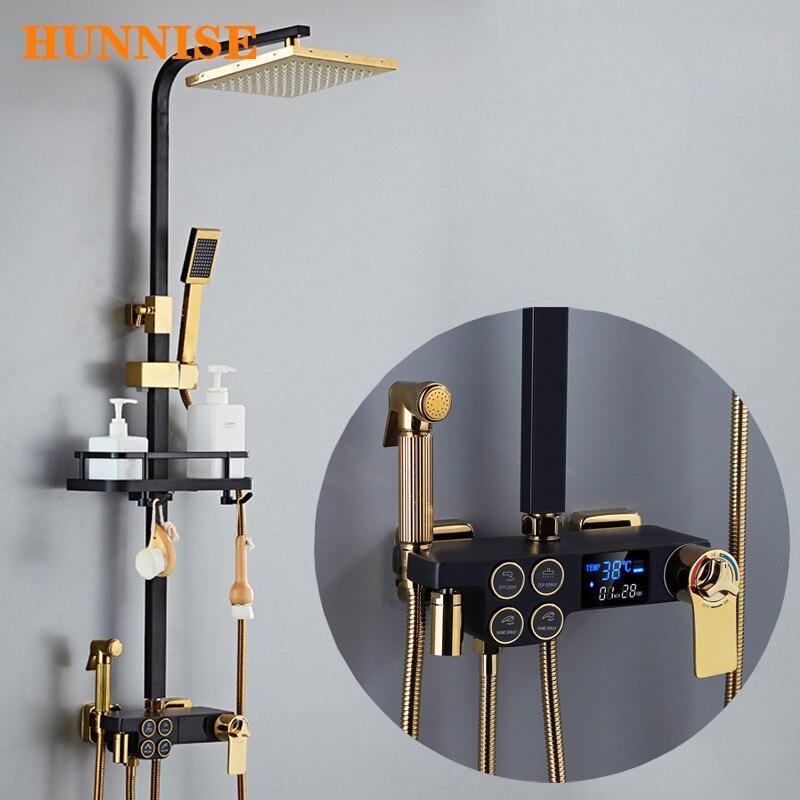 HUNNISE-مجموعة صنبور حمام ثرموستاتي ، 9 بوصة ، رأس دش مطري ، نظام ثرموستاتي ، ذهبي وأسود