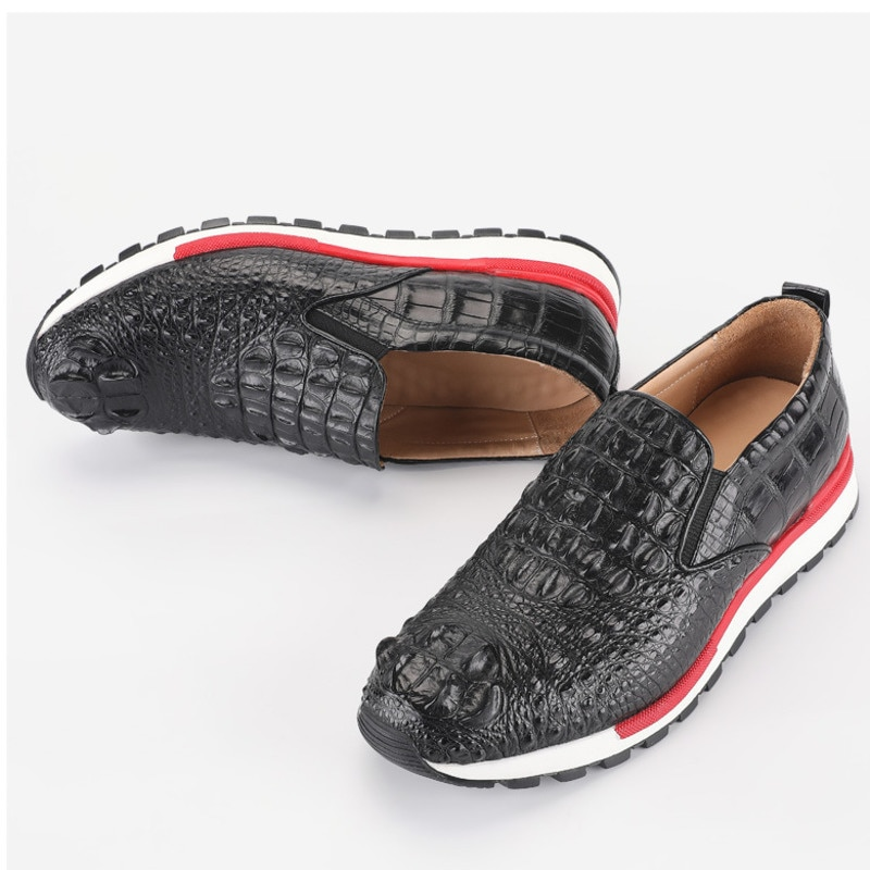 Мужские туфли из натуральной кожи, Тайланд, сиамская крокодиловая кожа, резиновая подошва, повседневные лоферы, Мокасины, лето