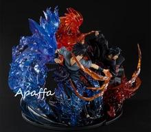 21cm Anime Figure jouets Naruto Shippuden Uchiha Sasuke Uchiha Itachi feu rouge VS Sasuke Susanoo bleu PVC figurine jouets modèle