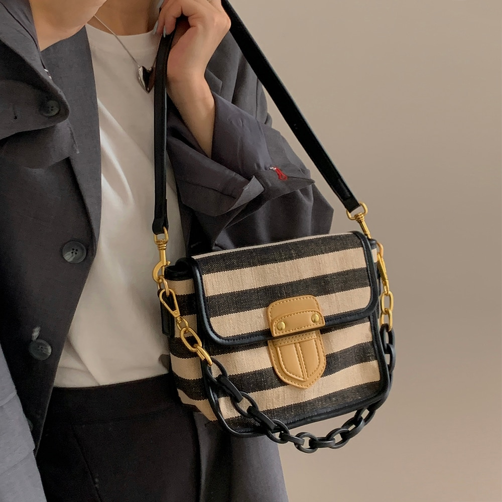 DN Women's Bag Canvas Striped Shoulder Bags for Women New Crossbody Bag Trend Fashion Commuter Desig