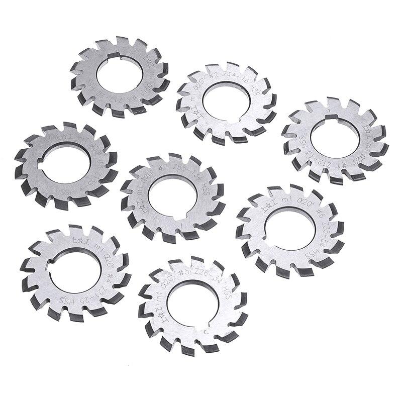 Купить с кэшбэком 8pcs Module M1 Bore 22mm #1-8 HSS Involute Gear Milling Cutter High Speed Steel Milling Cutter Gear Cutting Tools