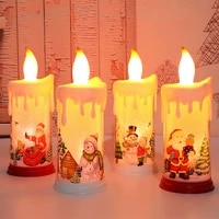 christmas led lights room decoration tree placed in the desktop simulation flame candle santa claus snowman night light diy d41