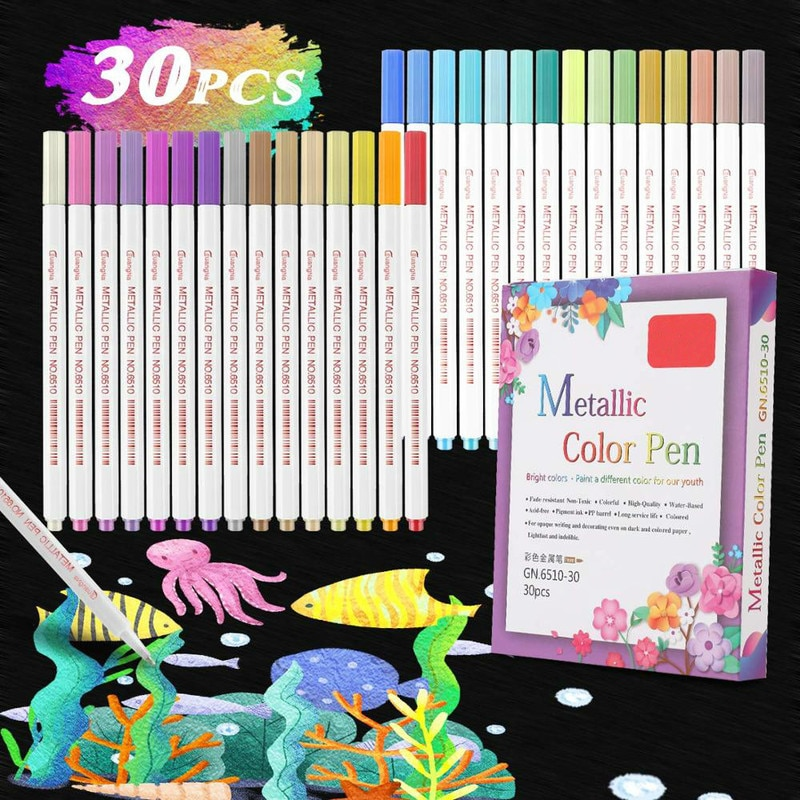 80 pcs assorted color dual tips paint art sketch twin marker pen alcohol based ink for art crafting poster coloring highlighting 30 Colours Metallic Marker Pens for Glass Paint Markers Pen Alcohol Based Sketch Felt-Tip Oily Twin Brush Pen Art Supplies