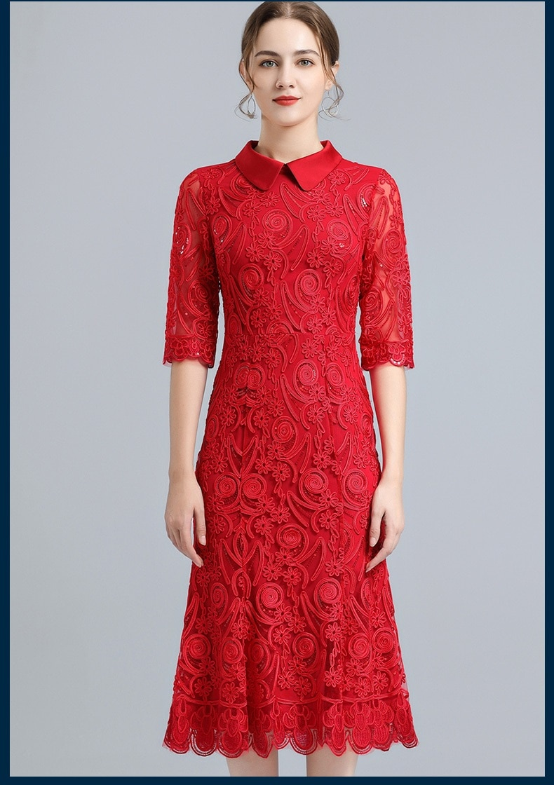 4XL Dresses 2021 Spring Summer Bride Mother Vestidos Women Turn-down Collar Sequined Embroidery Midi Red Blue Wine Red Dress 60s