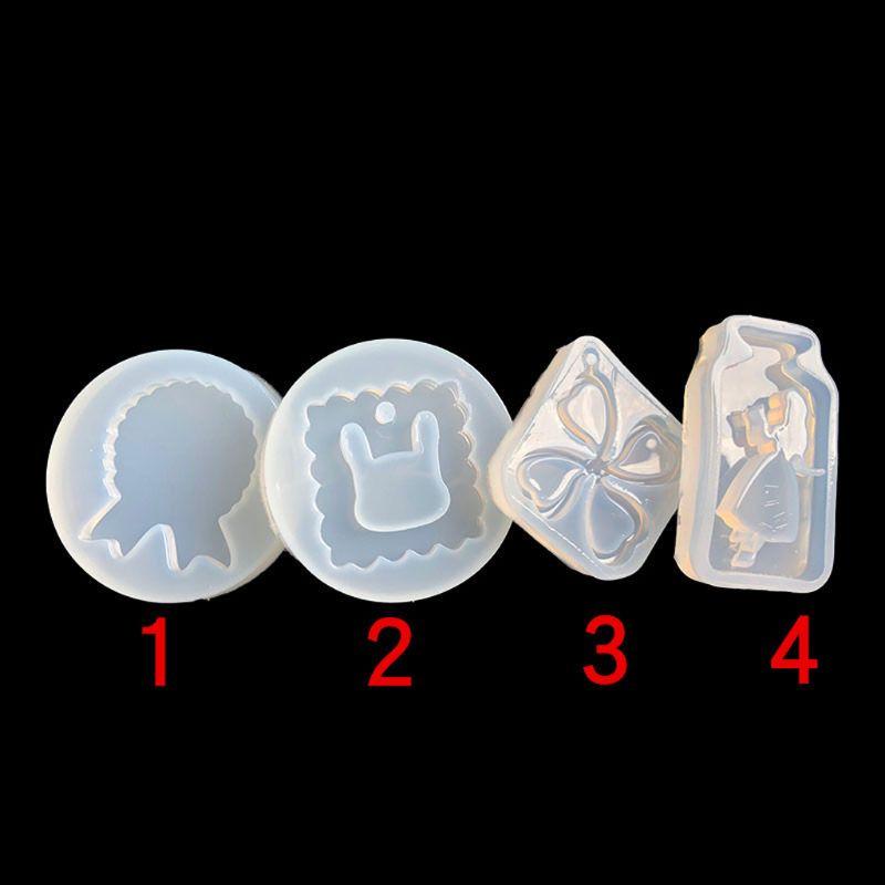 Molde para llavero con colgante de 4 Uds., medalla de conejo, botella con trébol, molde de resina Epoxy X7YA