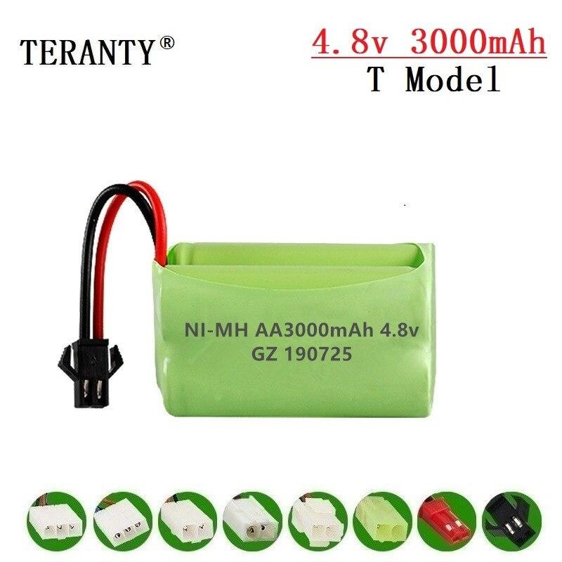 (Modelo T) 4,8 v 3000mah NiMH batería para Rc de coches juguetes tanques Robots barcos armas batería recargable de 4,8 v 4 * AA batería Pack 1 Uds