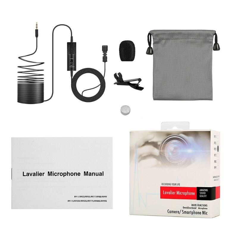 Micrófono condensador omnidireccional para cámara de teléfono PC 746D Yanmai R955S Lavalier