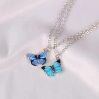 2021 korean popular butterfly necklace women fashion simple wild pendant clavicle chain neckla choker female jewelry