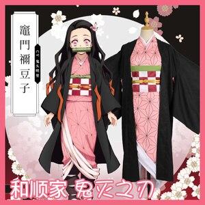 Hot New Anime Demon Slayer: Kimetsu no Yaiba Cosplay Kamado Nezuko Woman Japanese Clothes Cosplay Costume wigs
