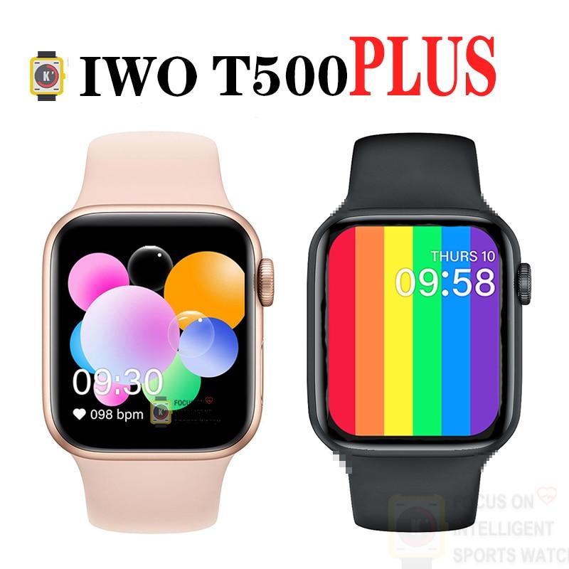 Iwo t500 plus relógio inteligente 1.54 polegada hd tela de toque completo smartwatch monitor freqüência cardíaca sono relógio de pulso 44mm iwo 12 pk t600 t900