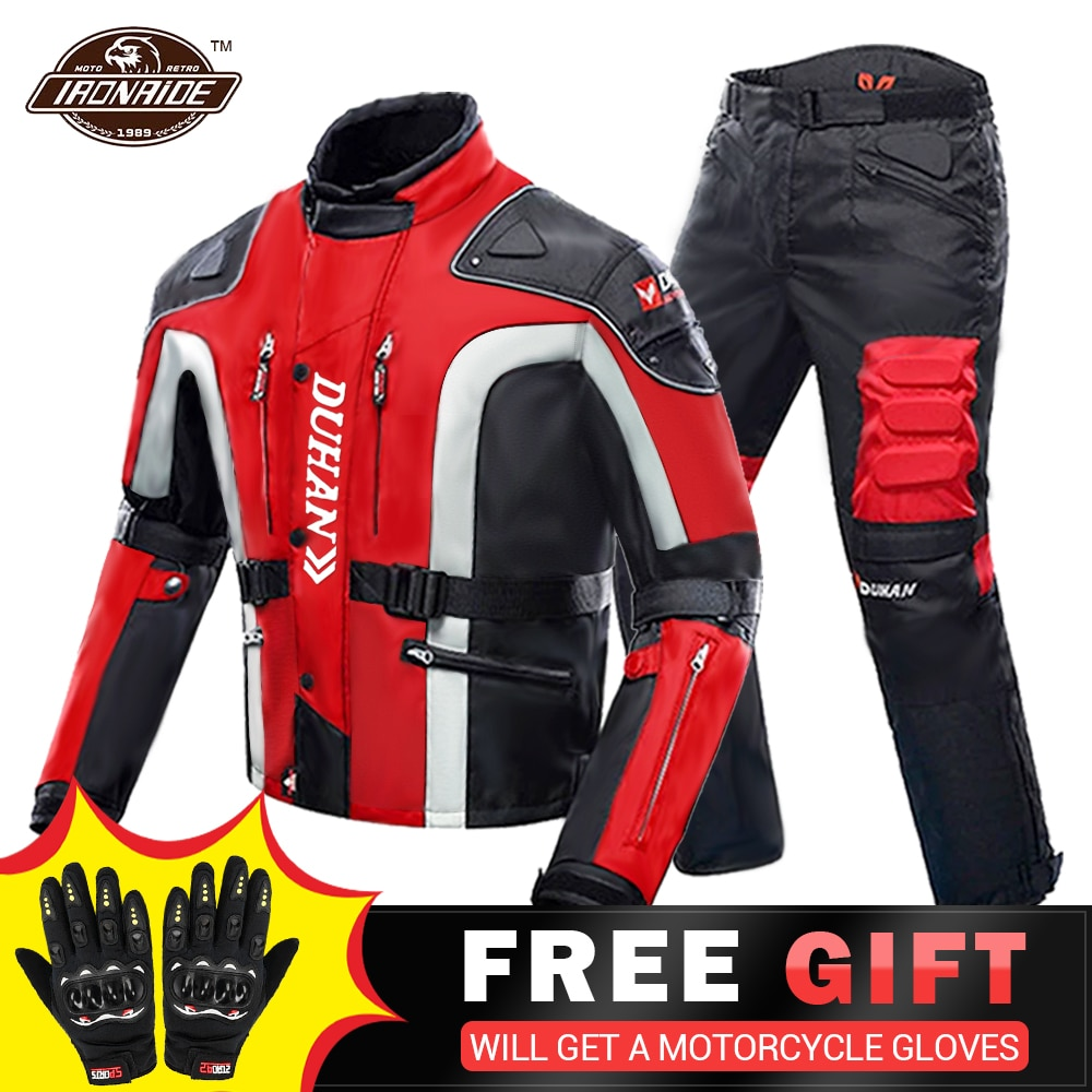 DUHAN Autumn Winter Cold-proof Motorcycle Jacket Moto+Protector Motorcycle Pants Moto Suit Touring C
