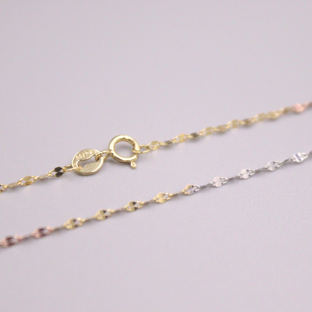 Au750 Real 18K Multi-tone Gold Chain Neckalce For Women Female 1.4mm Lip Chain Link Choker Gold Necklace 18''L  18K Gold Jewelry