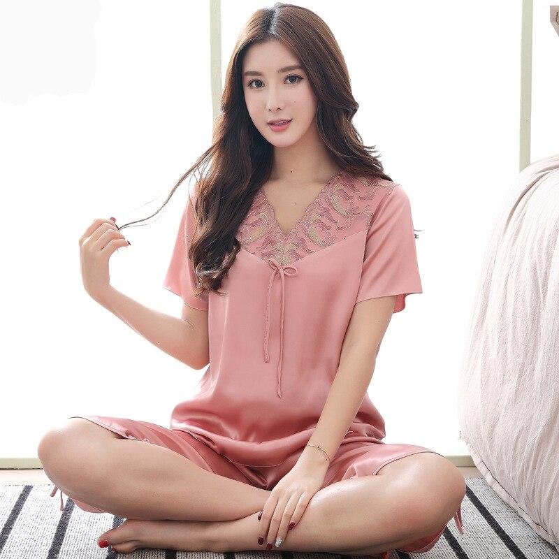 Весенне-летняя новая шелковая кружевная Пижама для женщин для отдыха женская большая Домашняя одежда из искусственного шелка